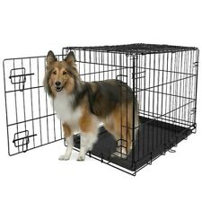 Black Pet Folding Cage Kennel with ABS Tray 36-Inch