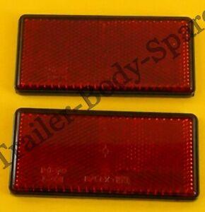 2 x Red Rear Reflectors 100mm x 50mm Self Adhesive - Trailer Horsebox
