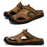 Summer Men Sandals Leather Slip On Slipper Roman Shoes Outdoor Flip Flops Casual