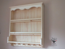 s107 Beautifully Hand Crafted Shelf   Wall Mounted Shelving Cabinet With Hooks  