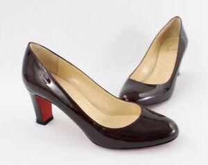 Christian Louboutin Burgundy Patent Leather Lady Gena Pump Heel Shoe 38 8