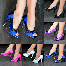 Special Occasion Satin Peep Toe Shoes for Women