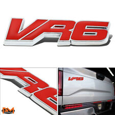 """VR6"" Polished Metal 3D Decal Red Emblem For Volkswagen Touareg/Passat/Golf"