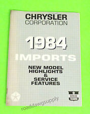 1984 Chrysler Conquest Ram 50 Colt New Model Highlights Service Shop Manual