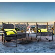 Outdoor 3-Piece Rocking Chair Set Wicker Rattan Bistro Furniture 2 Chairs w/Glas
