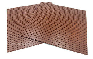 """LEGO 2 x BROWN BASEPLATES (Base Plate Board) 32x32 Pin 10 """" x 10 """" - BRAND NEW"""