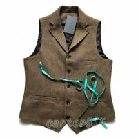 Hot Retro Men's Tweed Wool Blend Lapel Collar Slim Fit Vest Waistcoat Plus Size