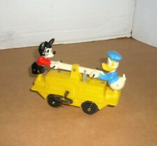 VINTAGE MARX MECHANICAL MICKEY MOUSE & DONALD DUCK HAND CAR WINDUP TOY
