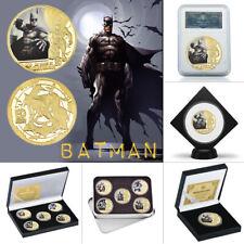 Batman SuperHero Action Figure Gold Plated Coins Set Box Collectibles Xmas Gift