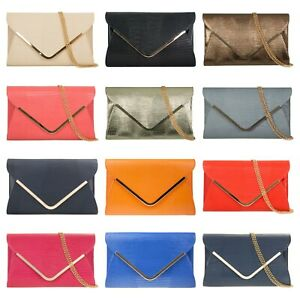 Womens Faux Leather snakeskin Large Clutch Bag with Flap/ Chain strap/prom bag
