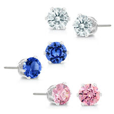 Set of 3 Stud Earrings Made with Fancy Blue, Pink and White Swarovski Crystals
