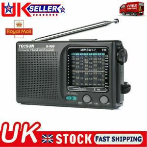 TECSUN R-909 Portable Radio FM MW(AM) SW(Shortwave) 9 Bands World Receiver--