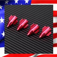 Lot de 4 Bouchons de Valve ROCKET Rouge en Aluminium Universel Pneus Auto Moto