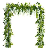 4Pcs White Simulation Wisteria Flower Leaf Vine for Wedding Flower Decoration