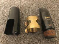 Yamaha 4C Clarinet Mouthpiece.Vintage Brass Ligature. Black Cap & Vandoren  Reed