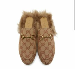 Gucci Princetown Men's Fur Slippers Canvas Monogram ( Original $890)
