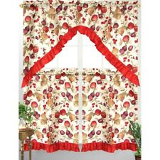 3pc Diana Kitchen Curtain Tier Swag Red Ruffle Border Mixed Fruit Apple Print