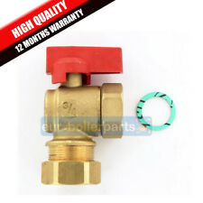 "Universal Angled 90 Degree Isolation Valve 22mm x 3/4"" For Boilers (RED)"