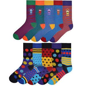 Mens 5 Pack Design Socks Bright Coloured Cotton Fashion Stripes Socks Size 6-11