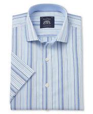 Short Sleeve Striped Machine Washable Formal Shirts for Men