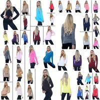 Ladies Womens V Neck Long Sleeve Plain Slim Fit Basic Top Stretchy T-Shirt 8-22