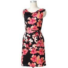 NWT Dana Buchman Black Floral Jersey Stretch Drape Belt/edSash Dress 3X 24W NEW