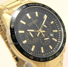 CITIZEN MEN CHRONOGRAPH GOLD TONE TACHY S STEEL 100m AN8073-55E (AN8072-58E)