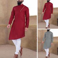 Kurta Pajama Shirt Mens Designer Top Tunic Indian Kurta Long Kaftan Party Formal