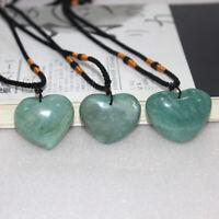 Natural Green Fluorite Quartz Crystal Heart Pendant Reiki Healing Stone Necklace