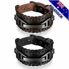 Vintage Wide Leather Band Bracelet Watch Buckle Metal Wristband Men's Bangle