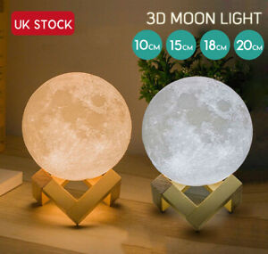 20CM Moon Night Light Bedroom Kids Lamp Dimmable LED Luna Touch Switch 3Color
