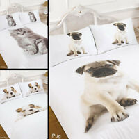 3D Animal Print Quilt Duvet Cover with Pillow Case Bedding Set Single Double Pug