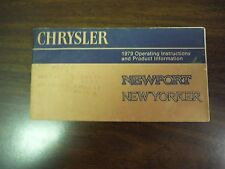 1978 Chrysler Newport / New Yorker Owner's Manual OEM Vintage Antique