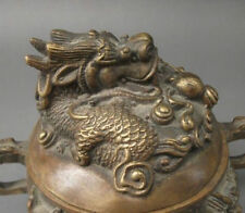 Chinese folk collecton! Old Bronze Incense Burner&Lid w Dragon NR