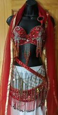Authentic Red Professional Sequin Metal Belly Dance Costume Outfit 5 Piece Set M
