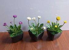 3 Artificial Small Flower Potted (Cream, Yellow, Purple)