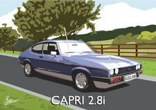 Ford Capri 2.8i Classic British Car Sportscar Art Deco Style Birthday Card