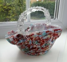 Antique Victorian thorn handled multi coloured art glass bowl