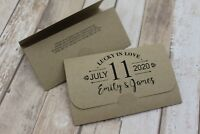 Personalised Wedding Favour Lottery/Scratchcard holders Curves & date