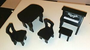 Barbie KidKraft Amelia Wooden Dollhouse Furniture (Table, Chairs, Piano, Bench)