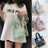 Women PVC Transparent Alphabet Jelly Bag Tote Clear Handbag Shoulder Bag Purse