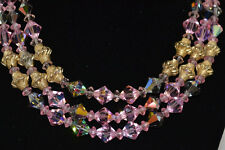Vintage 3 Strand Pink & Gold Necklace & Earring Set