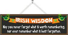 Irish Wisdom Funny Blessing Sign Shamrock Wall Art Irish Quote Sign PM441