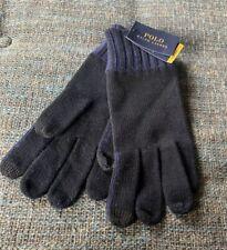 Nwt Polo Ralph Lauren Touchscreen Compatible Gloves Black/Blue Cotton/Wool G9