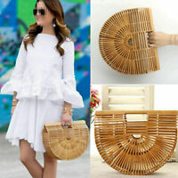 Bamboo Weaving Bag Handmade Beach Portable Half Moon Women summer Handbag