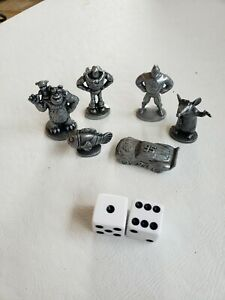 Lot of 6 Replacement Collectible Disney Pixar Monopoly Game Pieces Pewter G9