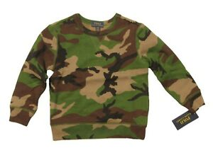 Polo Ralph Lauren Boys Green Multi Camo Fleece Lined Pullover Sweatshirt