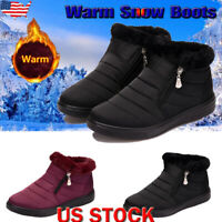 Womens Ankle Snow Boots Warm Fur Lined Zipper Outdoor Waterproof Anti-Slip Shoes