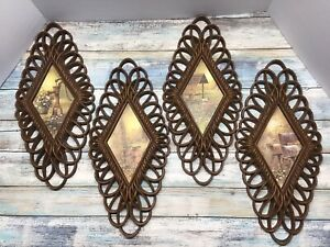 Mid Century Wall Hanging Plaques-Burwood Products SET OF 4 - 1970's