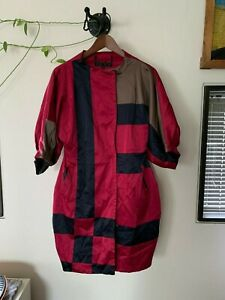 dress coat in black, pink and coffee satin - size 38